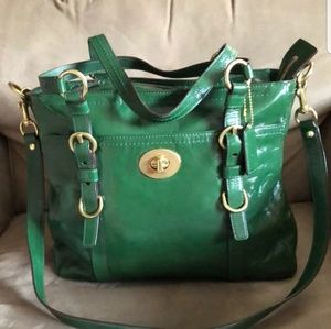 Authentic Coach green patent leather purse.